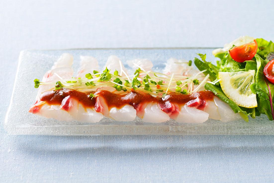 白身魚のカルパッチョ~もろみ花椒ソース~